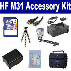 Canon HF M31 Camcorder Accessory Kit includes: SDBP809 Battery, SDM-1503 Charger, ST80 Case, HDMI6FM AV & HDMI Cable, ZELCKSG Care & Cleaning, ZE-VLK18 On-Camera Lighting, GP-22 Tripod, SD4/16GB Memory Card