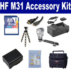 Canon HF M31 Camcorder Accessory Kit includes: SDBP809 Battery, SDM-1503 Charger, KSD48GB Memory Card, ST80 Case, HDMI6FM AV & HDMI Cable, ZELCKSG Care & Cleaning, ZE-VLK18 On-Camera Lighting, GP-22 Tripod