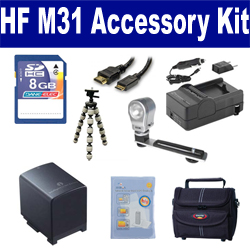 Canon HF M31 Camcorder Accessory Kit includes: SDBP819 Battery, SDM-1503 Charger, KSD48GB Memory Card, ST80 Case, HDMI6FM AV & HDMI Cable, ZELCKSG Care & Cleaning, ZE-VLK18 On-Camera Lighting, GP-22 Tripod