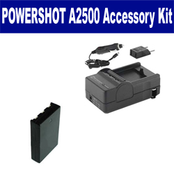 Canon PowerShot A2500 Digital Camera Accessory Kit includes: SDNB11L Battery, SDM-1555 Charger