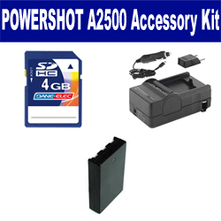 Canon PowerShot A2500 Digital Camera Accessory Kit includes: SDNB11L Battery, SDM-1555 Charger, KSD4GB Memory Card