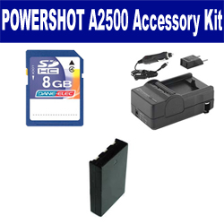 Canon PowerShot A2500 Digital Camera Accessory Kit includes: SDNB11L Battery, SDM-1555 Charger, KSD48GB Memory Card