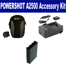 Canon PowerShot A2500 Digital Camera Accessory Kit includes: SDNB11L Battery, SDM-1555 Charger, SDC-21 Case