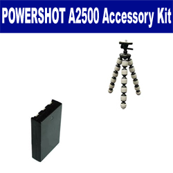 Canon PowerShot A2500 Digital Camera Accessory Kit includes: SDNB11L Battery, GP-10 Tripod