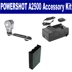 Canon PowerShot A2500 Digital Camera Accessory Kit includes: SDNB11L Battery, SDM-1555 Charger, ZE-VLK18 On-Camera Lighting