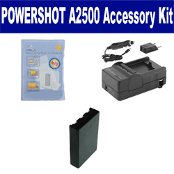 Canon PowerShot A2500 Digital Camera Accessory Kit includes: SDNB11L Battery, SDM-1555 Charger, ZELCKSG Care & Cleaning