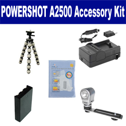 Canon PowerShot A2500 Digital Camera Accessory Kit includes: SDNB11L Battery, SDM-1555 Charger, GP-10 Tripod, ZE-VLK18 On-Camera Lighting, ZELCKSG Care & Cleaning