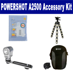 Canon PowerShot A2500 Digital Camera Accessory Kit includes: SDC-21 Case, GP-10 Tripod, ZE-VLK18 On-Camera Lighting, ZELCKSG Care & Cleaning