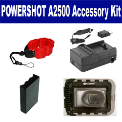Canon PowerShot A2500 Digital Camera Accessory Kit includes: SDNB11L Battery, SDM-1555 Charger, ZE-FS10-R Underwater Accessories