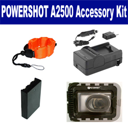 Canon PowerShot A2500 Digital Camera Accessory Kit includes: SDNB11L Battery, SDM-1555 Charger, ZE-FS10-OR Underwater Accessories