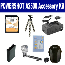 Canon PowerShot A2500 Digital Camera Accessory Kit includes: SDNB11L Battery, SDM-1555 Charger, SDC-21 Case, GP-10 Tripod, ZE-VLK18 On-Camera Lighting, ZELCKSG Care & Cleaning, SD32GB Memory Card