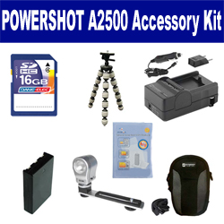 Canon PowerShot A2500 Digital Camera Accessory Kit includes: SDNB11L Battery, SDM-1555 Charger, SDC-21 Case, GP-10 Tripod, ZE-VLK18 On-Camera Lighting, ZELCKSG Care & Cleaning, SD4/16GB Memory Card