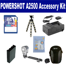 Canon PowerShot A2500 Digital Camera Accessory Kit includes: SDNB11L Battery, SDM-1555 Charger, KSD48GB Memory Card, SDC-21 Case, GP-10 Tripod, ZE-VLK18 On-Camera Lighting, ZELCKSG Care & Cleaning