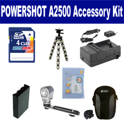Canon PowerShot A2500 Digital Camera Accessory Kit includes: SDNB11L Battery, SDM-1555 Charger, SDC-21 Case, GP-10 Tripod, ZE-VLK18 On-Camera Lighting, ZELCKSG Care & Cleaning, KSD4GB Memory Card