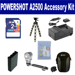 Canon PowerShot A2500 Digital Camera Accessory Kit includes: SDNB11L Battery, SDM-1555 Charger, KSD2GB Memory Card, SDC-21 Case, GP-10 Tripod, ZE-VLK18 On-Camera Lighting, ZELCKSG Care & Cleaning