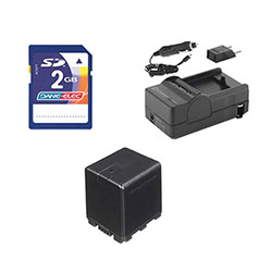 Panasonic HC-X920 Camcorder Accessory Kit includes: SDVWVBN390 Battery, SDM-1551 Charger, KSD2GB Memory Card
