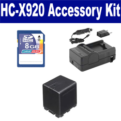 Panasonic HC-X920 Camcorder Accessory Kit includes: SDVWVBN390 Battery, SDM-1551 Charger, KSD48GB Memory Card