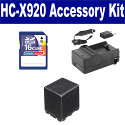 Panasonic HC-X920 Camcorder Accessory Kit includes: SDVWVBN390 Battery, SDM-1551 Charger, SD4/16GB Memory Card