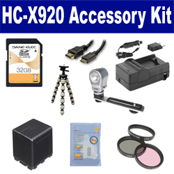 Panasonic HC-X920 Camcorder Accessory Kit includes: SDVWVBN390 Battery, SDM-1551 Charger, SD32GB Memory Card, GBFLK49 Filter/ Adapter, HDMI6FM AV & HDMI Cable, ZELCKSG Care & Cleaning, ZE-VLK18 On-Camera Lighting, GP-22 Tripod