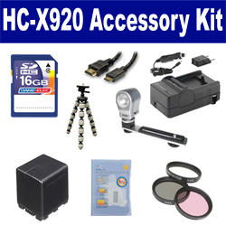 Panasonic HC-X920 Camcorder Accessory Kit includes: SDVWVBN390 Battery, SDM-1551 Charger, SD4/16GB Memory Card, GBFLK49 Filter/ Adapter, HDMI6FM AV & HDMI Cable, ZELCKSG Care & Cleaning, ZE-VLK18 On-Camera Lighting, GP-22 Tripod