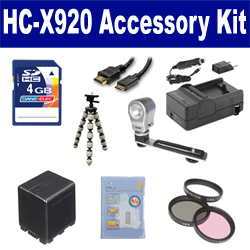 Panasonic HC-X920 Camcorder Accessory Kit includes: SDVWVBN390 Battery, SDM-1551 Charger, KSD4GB Memory Card, GBFLK49 Filter/ Adapter, HDMI6FM AV & HDMI Cable, ZELCKSG Care & Cleaning, ZE-VLK18 On-Camera Lighting, GP-22 Tripod