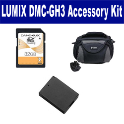 Panasonic Lumix DMC-GH3 Digital Camera Accessory Kit includes: ACD416 Battery, SDC-26 Case, SD32GB Memory Card