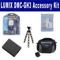 Panasonic Lumix DMC-GH3 Digital Camera Accessory Kit includes: ZELCKSG Care & Cleaning, GP-22 Tripod, LED-70 On-Camera Lighting, ACD416 Battery, SDC-26 Case