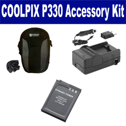 Nikon Coolpix P330 Digital Camera Accessory Kit includes: SDENEL12 Battery, SDM-197 Charger, SDC-23 Case