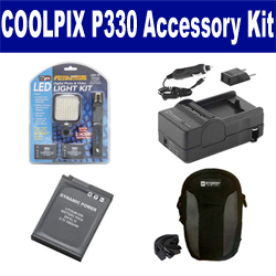 Nikon Coolpix P330 Digital Camera Accessory Kit includes: SDENEL12 Battery, SDM-197 Charger, SDC-23 Case, LED-70 On-Camera Lighting