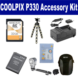 Nikon Coolpix P330 Digital Camera Accessory Kit includes: SDENEL12 Battery, SDM-197 Charger, SDC-23 Case, ZELCKSG Care & Cleaning, ZE-VLK18 On-Camera Lighting, GP-22 Tripod, SD32GB Memory Card