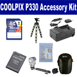 Nikon Coolpix P330 Digital Camera Accessory Kit includes: SDENEL12 Battery, SDM-197 Charger, SDC-23 Case, ZELCKSG Care & Cleaning, ZE-VLK18 On-Camera Lighting, GP-22 Tripod, SD4/16GB Memory Card