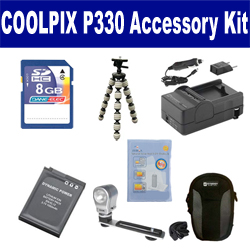 Nikon Coolpix P330 Digital Camera Accessory Kit includes: SDENEL12 Battery, SDM-197 Charger, KSD48GB Memory Card, SDC-23 Case, ZELCKSG Care & Cleaning, ZE-VLK18 On-Camera Lighting, GP-22 Tripod