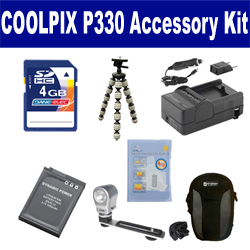 Nikon Coolpix P330 Digital Camera Accessory Kit includes: SDENEL12 Battery, SDM-197 Charger, SDC-23 Case, ZELCKSG Care & Cleaning, ZE-VLK18 On-Camera Lighting, GP-22 Tripod, KSD4GB Memory Card
