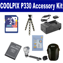 Nikon Coolpix P330 Digital Camera Accessory Kit includes: SDENEL12 Battery, SDM-197 Charger, KSD2GB Memory Card, SDC-23 Case, ZELCKSG Care & Cleaning, ZE-VLK18 On-Camera Lighting, GP-22 Tripod