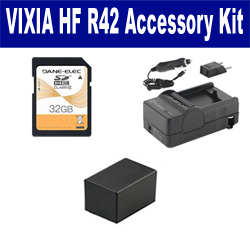 Canon VIXIA HF R42 Camcorder Accessory Kit includes: SD32GB Memory Card, SDM-1556 Charger, SDBP718 Battery
