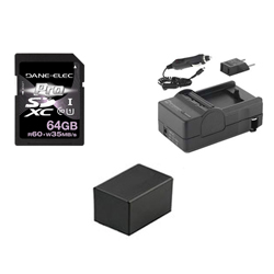 Canon VIXIA HF R42 Camcorder Accessory Kit includes: KSD64GB Memory Card, SDM-1556 Charger, SDBP718 Battery