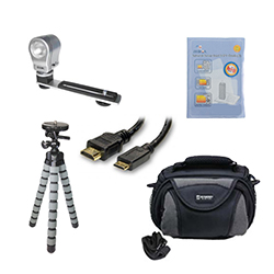 Canon VIXIA HF R42 Camcorder Accessory Kit includes: SDC-26 Case, ZELCKSG Care & Cleaning, ZE-VLK18 On-Camera Lighting, GP-22 Tripod, HDMI6FM AV & HDMI Cable