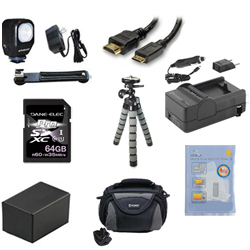 Canon VIXIA HF R42 Camcorder Accessory Kit includes: KSD64GB Memory Card, SDC-26 Case, ZELCKSG Care & Cleaning, ZE-VLK18 On-Camera Lighting, GP-22 Tripod, HDMI6FM AV & HDMI Cable, SDM-1556 Charger, ACD786 Battery