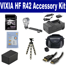 Canon VIXIA HF R42 Camcorder Accessory Kit includes: KSD64GB Memory Card, SDC-26 Case, ZELCKSG Care & Cleaning, ZE-VLK18 On-Camera Lighting, GP-22 Tripod, HDMI6FM AV & HDMI Cable, SDM-1556 Charger, SDBP718 Battery