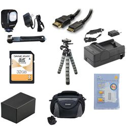 Canon VIXIA HF R42 Camcorder Accessory Kit includes: SD32GB Memory Card, SDC-26 Case, ZELCKSG Care & Cleaning, ZE-VLK18 On-Camera Lighting, GP-22 Tripod, HDMI6FM AV & HDMI Cable, SDM-1556 Charger, ACD786 Battery