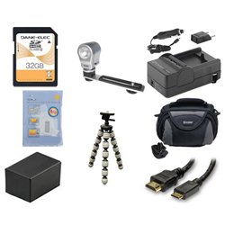 Canon VIXIA HF R42 Camcorder Accessory Kit includes: SD32GB Memory Card, SDC-26 Case, ZELCKSG Care & Cleaning, ZE-VLK18 On-Camera Lighting, GP-22 Tripod, HDMI6FM AV & HDMI Cable, SDM-1556 Charger, SDBP718 Battery
