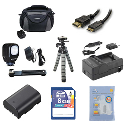 Panasonic Lumix DMC-GH3 Digital Camera Accessory Kit includes: ZELCKSG Care & Cleaning, ZE-VLK18 On-Camera Lighting, GP-22 Tripod, SDM-1565 Charger, SDDMWBLF19E Battery, SDC-26 Case, HDMI6FM AV & HDMI Cable, KSD48GB Memory Card