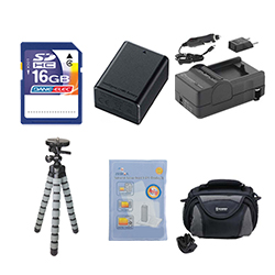 Canon VIXIA HF R300 Camcorder Accessory Kit includes: SDC-26 Case, ZELCKSG Care & Cleaning, GP-22 Tripod, SDM-1556 Charger, SDBP718 Battery, SD4/16GB Memory Card