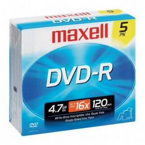 Maxell Panasonic VDR-M10 Camcorder  DVD-R 16x 4.7 GB 120 Minute Recordable Disc in Jewel Case - (5 Pack) at Sears.com