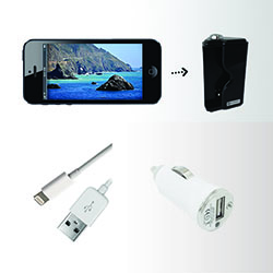 iPhone 5, 5s Accessory Kit - Includes: USB Car Charger and Shutter Release Grip - Black