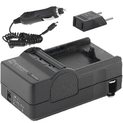 Mini Battery Charger Kit for Panasonic DMW-BCK7 Batteries - Fold-in Wall Plug (Car & EU Adapters Included)
