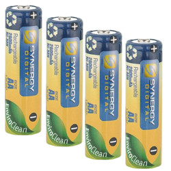 Pack of 4 AA NiMH Rechargable Batteries - 2800mAh