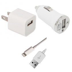 Home & Car Charger Kit For iPhone 5 - Includes Home AC Adapter, Car Adapter and a USB Sync Data Cable