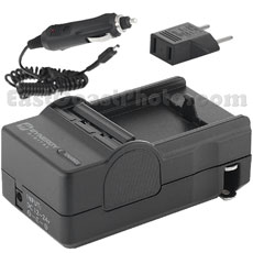 Mini Battery Charger Kit for Sony NP-FR1 NP-BD1, & NP-FD1 Battery - with fold-in wall plug, car & EU adapters