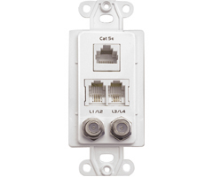 Data/Telephone/Coax Wall Plates - White